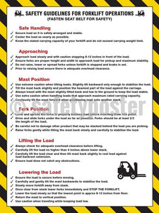 Safety Guidelines For Forklift Operations (Fasten Seat Belt Safety) - Poster Transportation