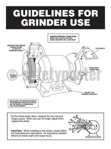 Guidelines For Grinder Use - Safety Poster Personal Protective Equipment