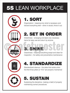 5S Lean Workplace (Black/white) - Safety Poster Organization
