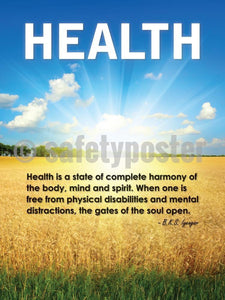 Health Is A State Of Complete Harmony - Safety Poster New Posters & Wellness