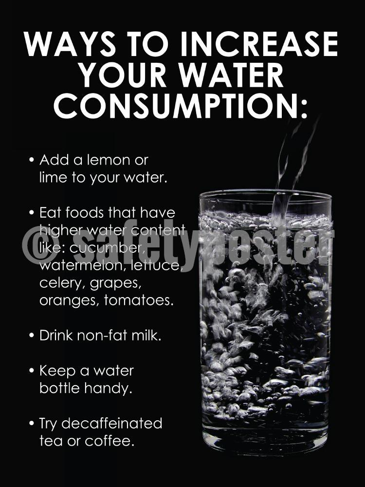 Ways To Increase Your Water Consumption - Safety Poster Seasonal