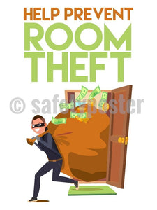 Help Prevent Room Theft - Safety Poster New Posters Hospitality Cartoons