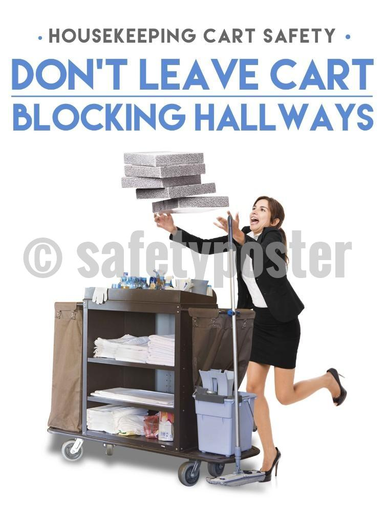 Dont Block The Hallways With Your Cart - Safety Poster New Posters Hospitality