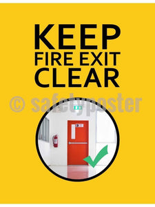 Keep Fire Exits Clear - Safety Poster New Posters General
