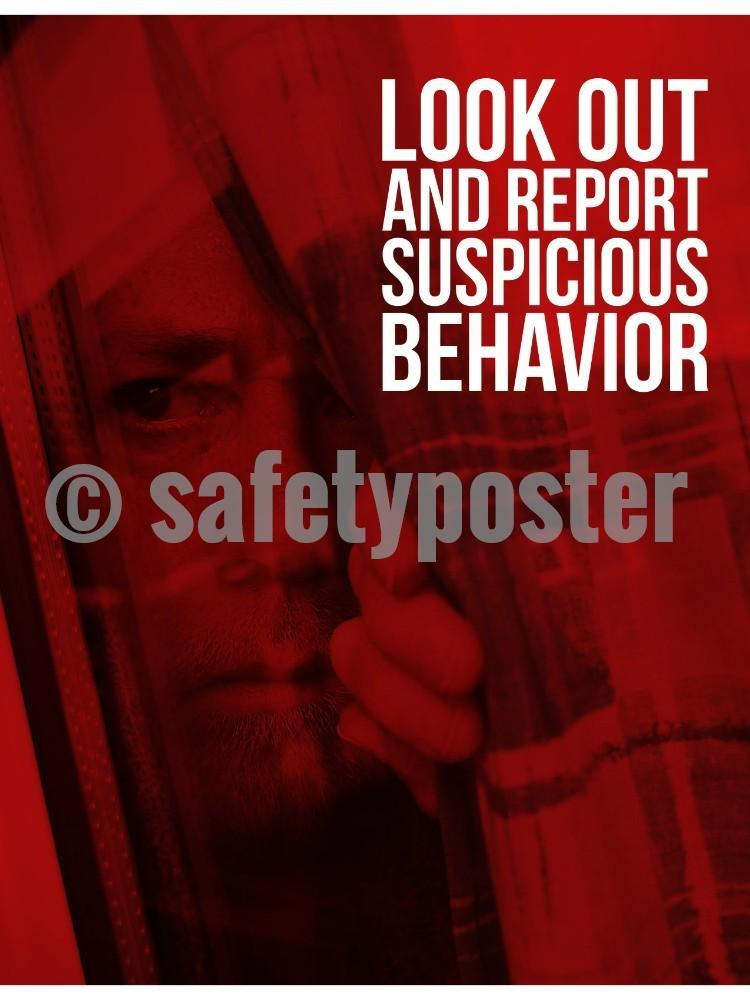 Report Suspicious Behavior - Safety Poster New Posters Hospitality