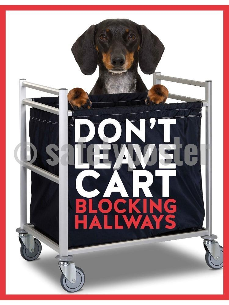 Dont Leave Cart Blocking Hallways (Dog) - Safety Poster New Posters Hospitality