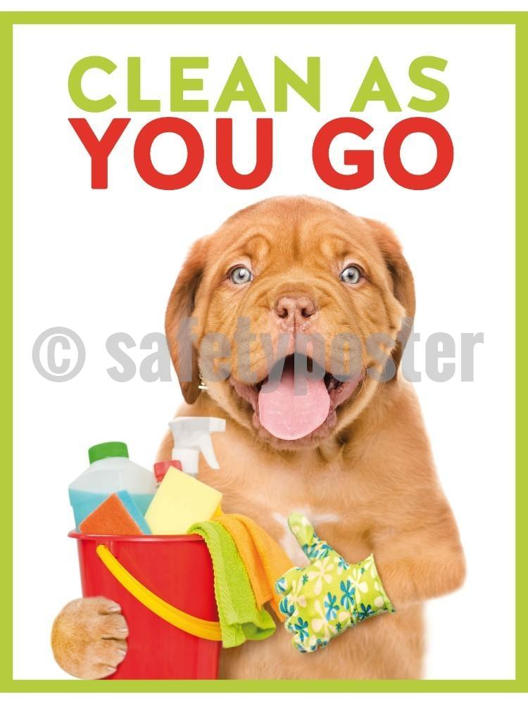 Clean As You Go (Dog) - Safety Poster New Posters Hospitaility General