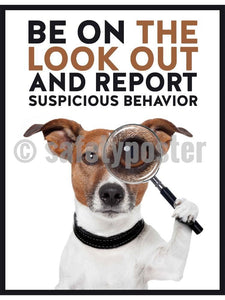Be on the Look Out And Report Suspicious Behavior - Safety Poster