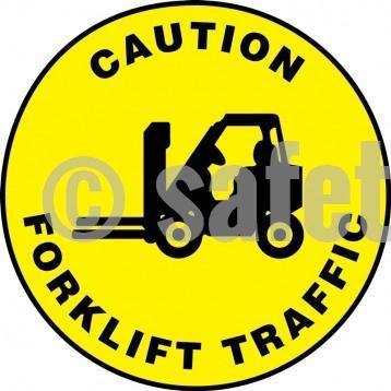 Caution Forklift Traffic - Floor Sign Adhesive Signs