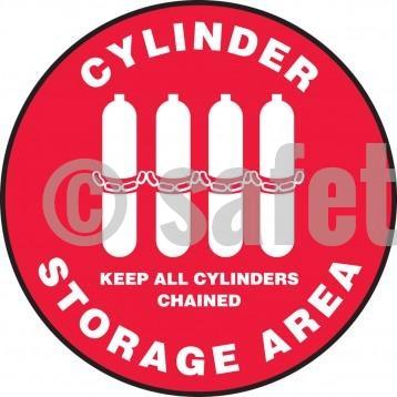Cylinder Storage Area Keep All Cylinders Chained - Floor Sign Adhesive Signs
