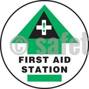 First Aid Station - Floor Sign Adhesive Signs