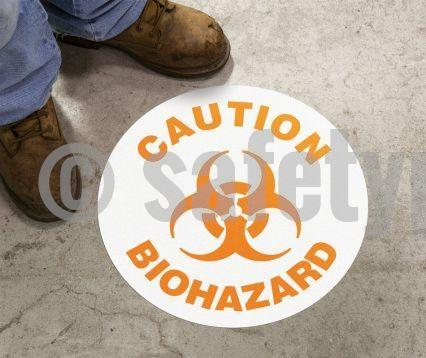 Caution Biohazard - Floor Sign Adhesive Signs