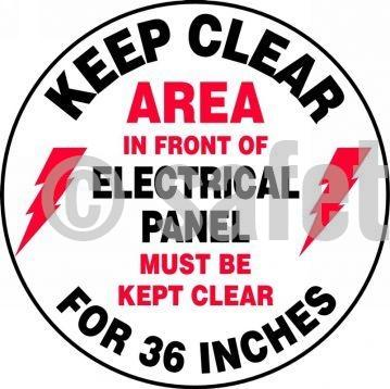 Keep Clear Area In Front Of Electrical Panel Must Be Kept For Inches - Floor Sign Adhesive Signs