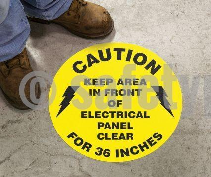 Caution Keep Area In Front Of Electrical Panel Clear For Inches - Floor Sign Adhesive Signs