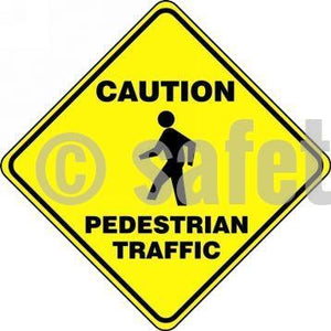 Caution Pedestrian Traffic - Floor Sign Adhesive Signs