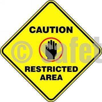 Caution Restricted Area - Floor Sign Adhesive Signs