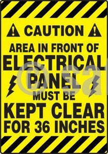 Caution Area In Front Of Electrical Panel Must Be Kept Clear For Inches - Floor Sign Adhesive Signs