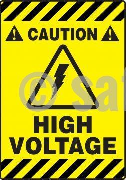 Caution High Voltage - Floor Sign Adhesive Signs