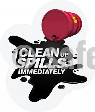 Clean Up Spills Immediately - Floor Graphic Adhesive Signs