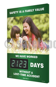 Safety Is A Family Value _ Days Without An Accident (Green) - Digi-Day 3 Digi-Day® Electronic