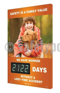 Safety Is A Family Value _ Days Without An Accident (Orange) - Digi-Day 3 Digi-Day® Electronic