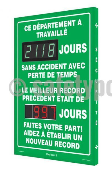 This Department Has Worked _ Days Without Accident - Digi-Day 3 (Avail. In French) French Digi-Day®