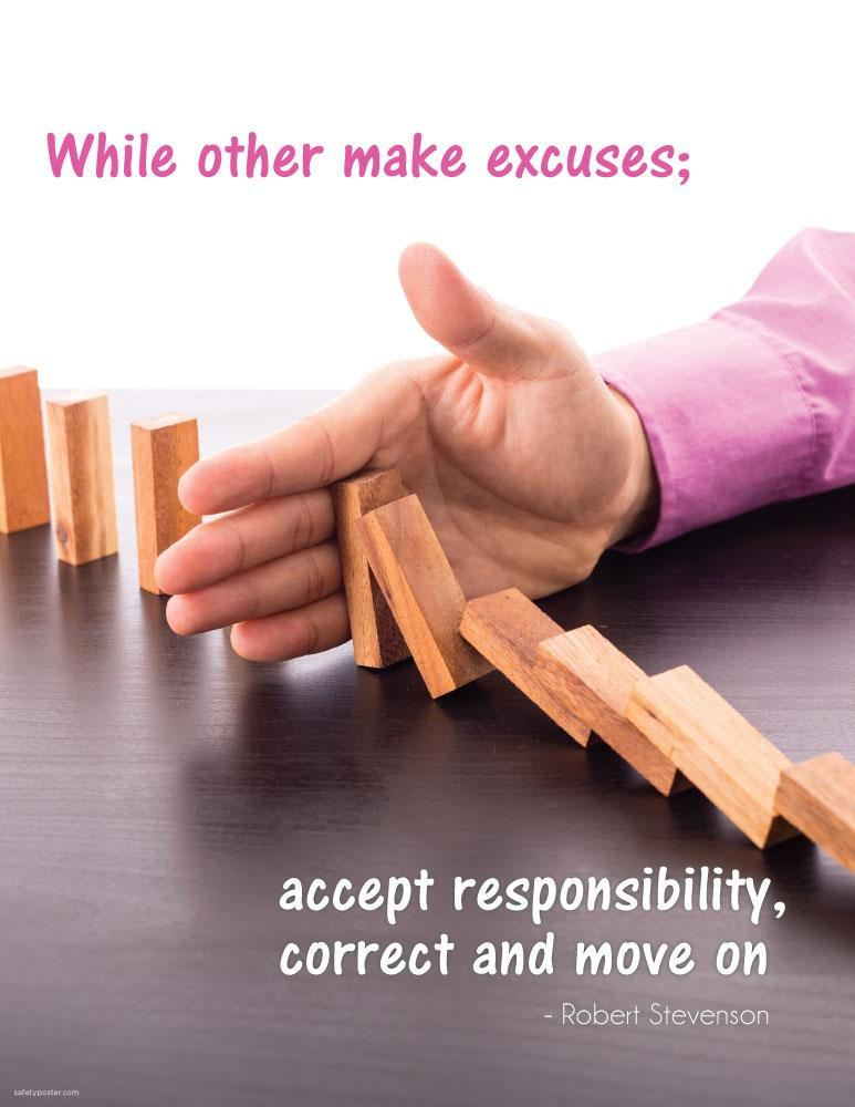 Accept Responsibility, Correct and Move On - Robert Stevnson Motivational Poster