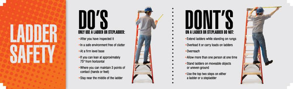 Ladder Safety Dos And Donts - Banner 96 X 28 Motivational Banners