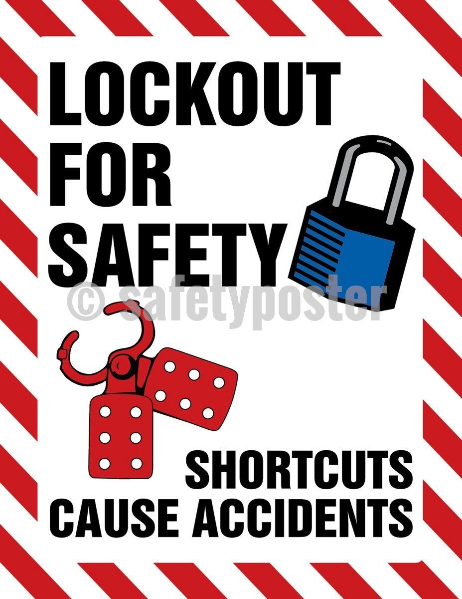 Lock Out For Safety Shortcuts Cause Accidents - Poster Machine New Posters