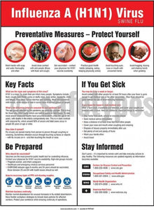 Influenze A (H1N1) Virus Preventative Measures - Safety Poster Health & Wellness New Posters