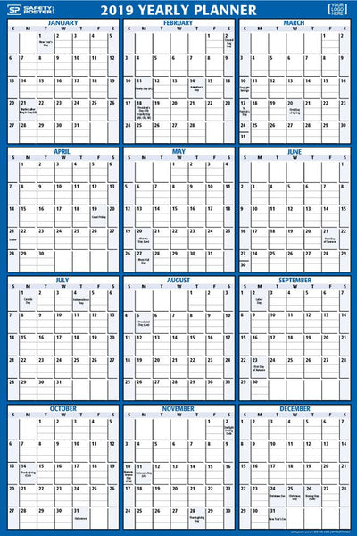 2019 Dry-Erase Wall Calendar (Vertical) With Company Logo / Blue
