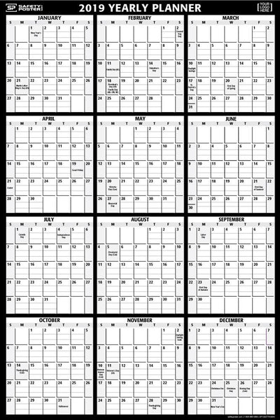 2019 Dry-Erase Wall Calendar (Vertical) With Company Logo / Black/white
