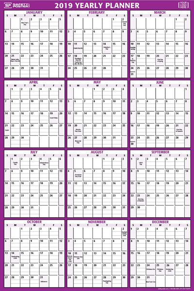 2019 Dry-Erase Wall Calendar (Vertical) With Company Logo / Purple