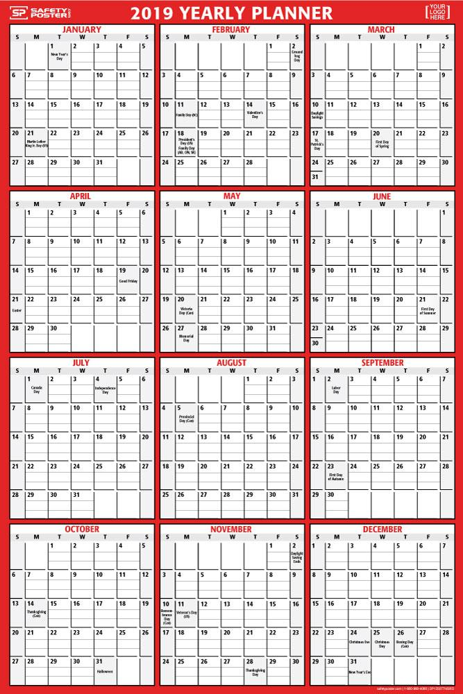 2019 Dry-Erase Wall Calendar (Vertical) With Company Logo / Red