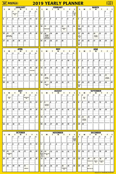 2019 Dry-Erase Wall Calendar (Vertical) With Company Logo / Yellow