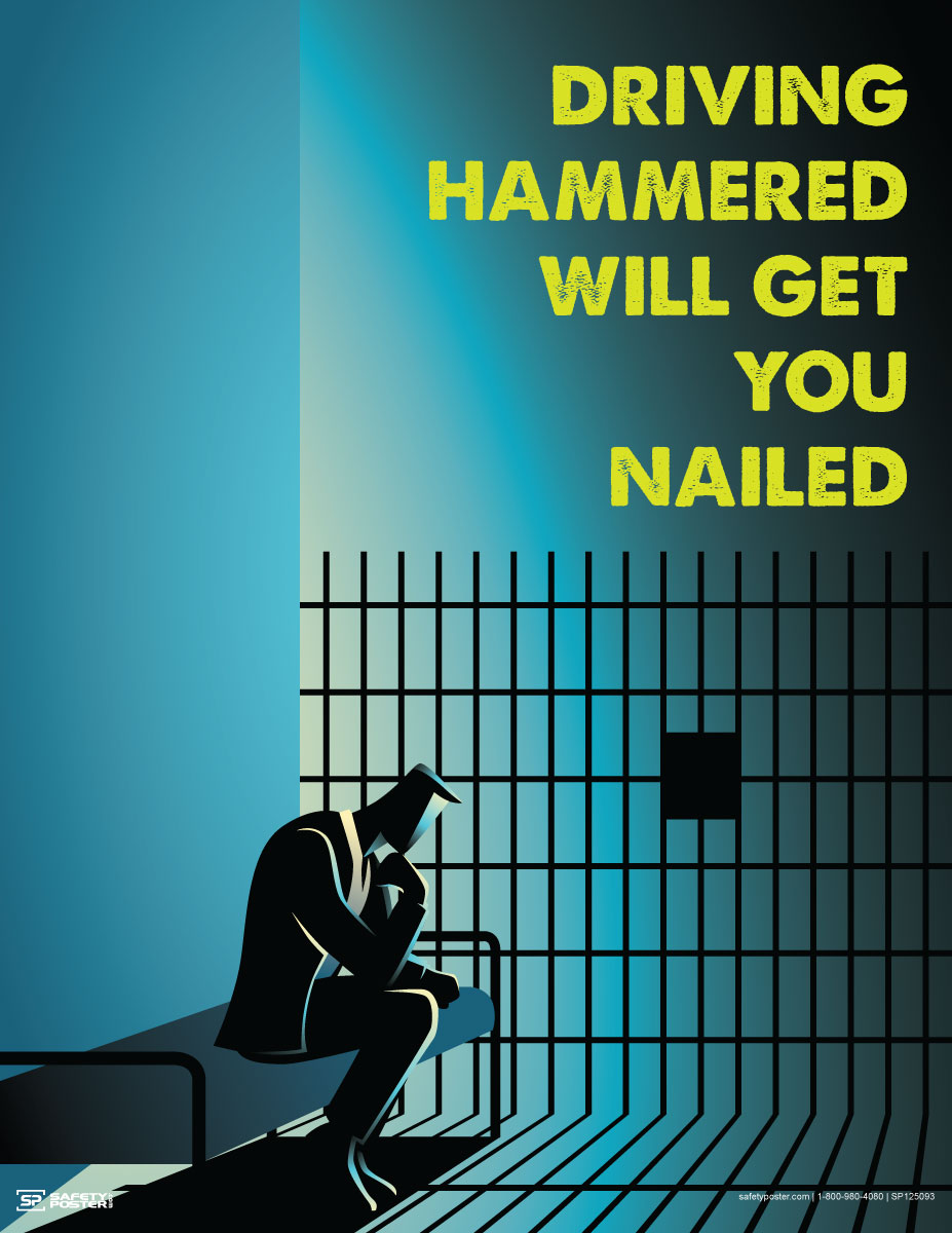 Driving Hammered Will Get You Nailed - Safety Poster