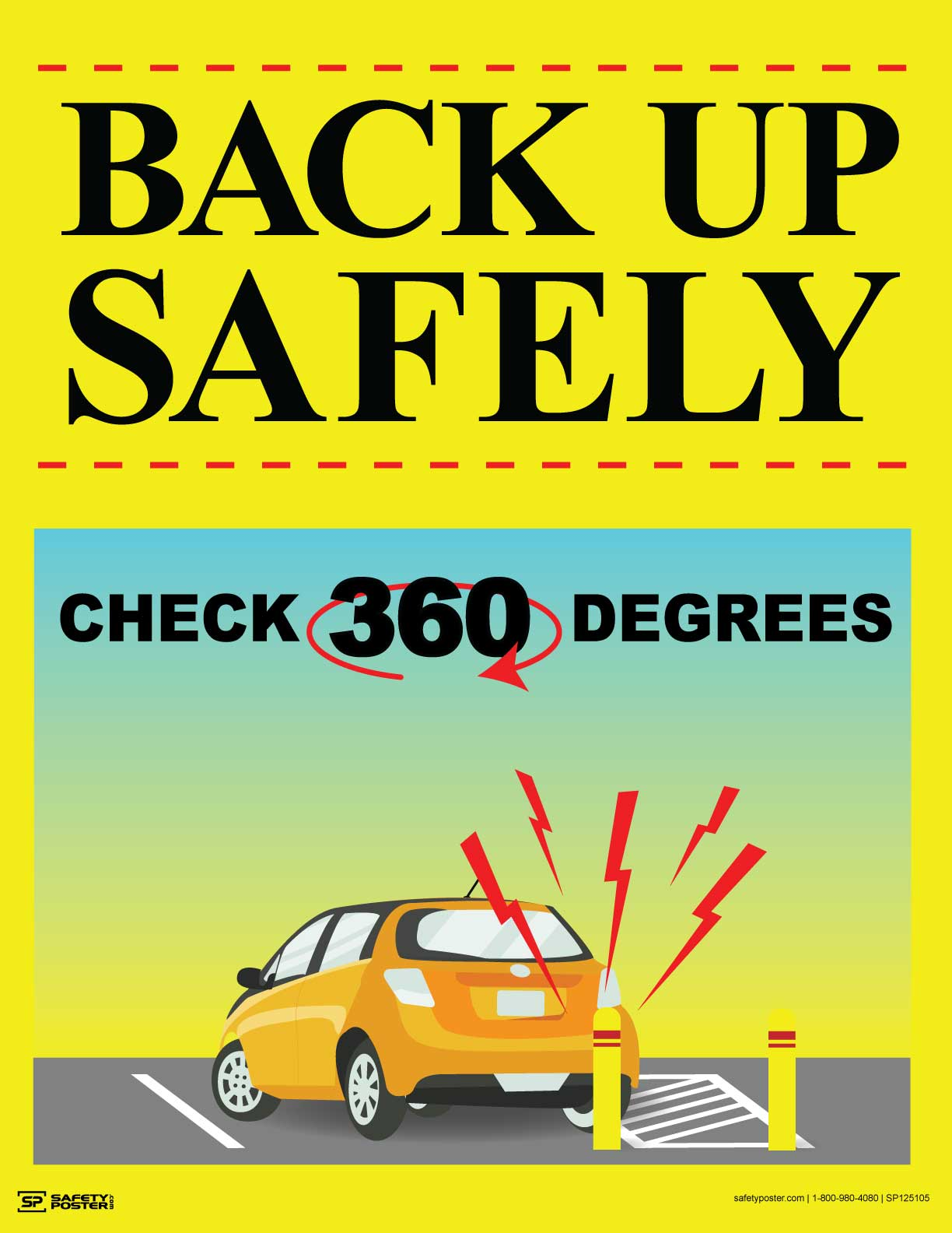 Back Up Safely, Check 360 Degrees - Safety Poster