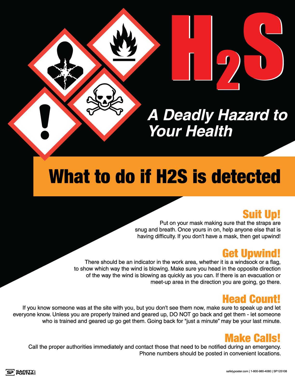 H2S A Deadly Hazard to Your Health - Safety Poster