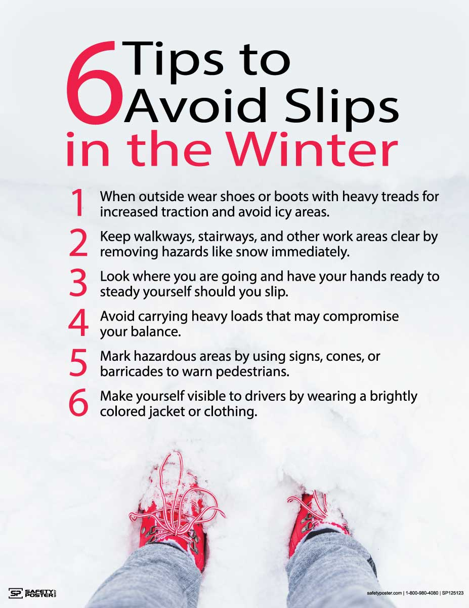 Six Tips to Avoid Slips in the Winter - Safety Poster