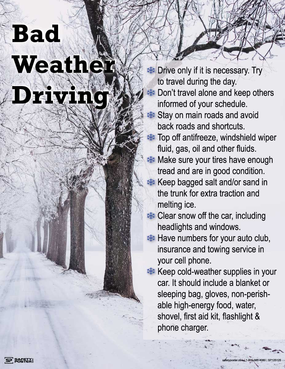 Bad Weather Driving Tips - Safety Poster