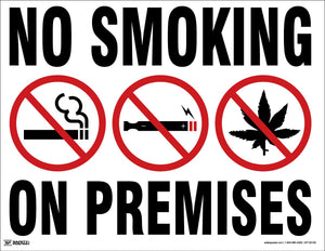 No Smoking on Premises - Safety Poster