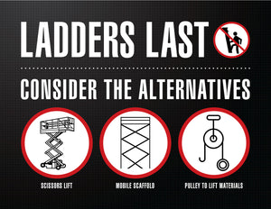 Ladders Last, Consider the Alternatives - Safety Poster