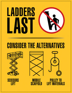 Ladders Last, Consider the Alternatives (Yellow) - Safety Poster