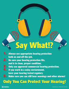 Say What Protect Your Hearing - Safety Poster