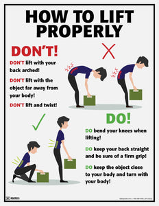 How To Lift Properly Do's and Dont's - Safety Poster