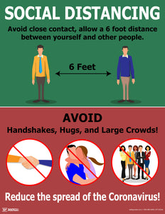 Social Distancing Reduce The Spread - Safety Poster