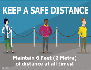Keep A Safe Distance Standing In Line - Safety Poster