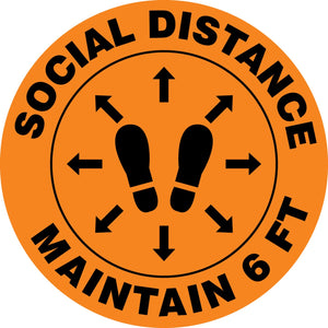 Social Distance Maintain 6 FT (Footprint) - Floor Sign