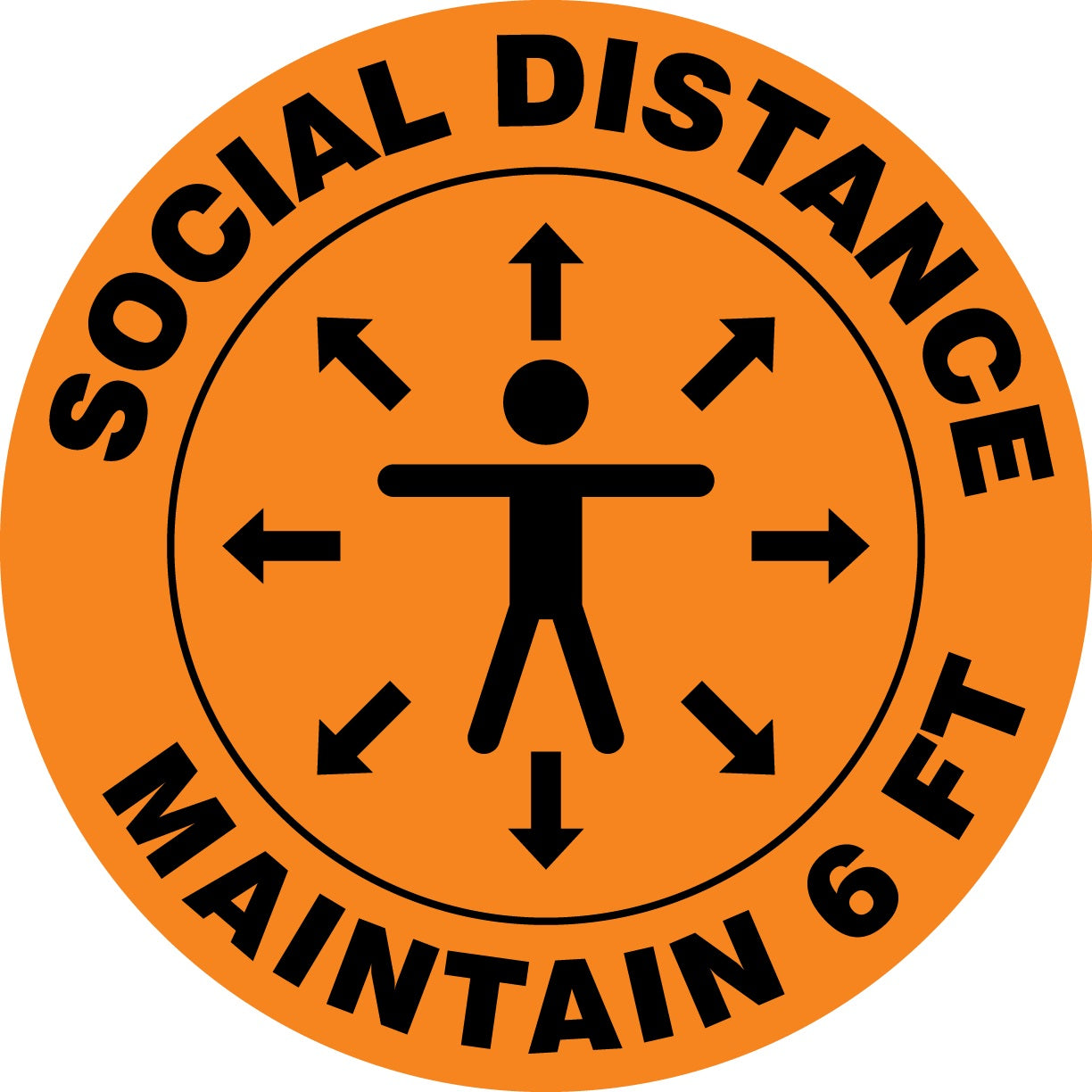 Social Distance Maintain 6 FT (Person) - Floor Sign