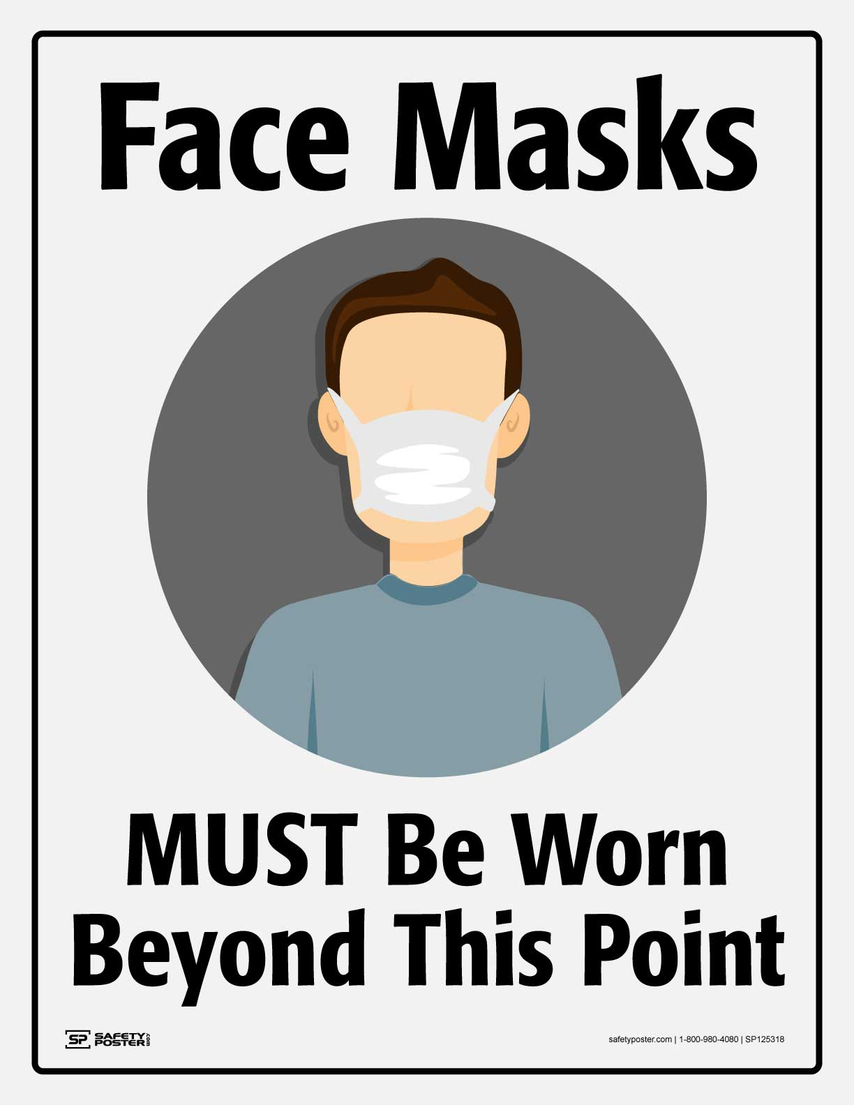 Face Masks MUST Be Worn Beyond This Point- Safety Poster